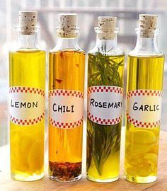 """#DIY Infused Olive Oils - actually from my recipe board, although I want to make a rosemary infused olive oil for some of the skin care products (I have LOTS of fresh rosemary)! Great post!!! """"Check it Out"""
