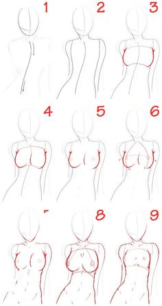 Resultado de imagen para como dibujar cuerpos anime paso a paso