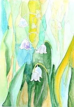 Lilly of the valley Original watercolor Floral art painting Handmade greeting…