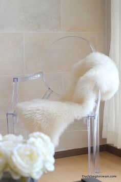 My New Louis Ghost Chair with Sheepskin Throw :) - See more at Ducklingtoswan.com