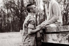 the way he looks at you. & I fall more in love with you every time Military Couples, Military Love, Engagement Photo Inspiration, Engagement Pictures, Military Couple Photography, Army Photography, Photography Ideas, Marines Girlfriend, The Way He Looks