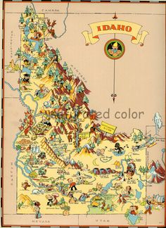 Idaho Map - Vintage ORIGINAL 1930s