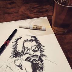 "#drinkanddraw -#beer is Mother Earth's Wet Hop Dreams Mosaic IPA #drawing #sketch is of #Reddit user ""hairyballoonknot"" using Muji and #Pentel pens and a #whiteout pen from Muji. #art #redditgetsdrawn #redditartistnetwork #doodles #DTSJ"