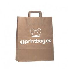 097b9f718 Bolsas económicas de papel kraft verjurado grandes con asa plana, marcadas  con tu logotipo de