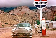 vintage travel gas stations   folks from iowa on vacation standard gas station in 1958