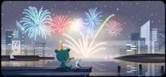 Froggy the weather frog finds the New Year's Eve fireworks ribbitting. Happy New Years Eve, Happy New Year 2020, Google Doodles, Gold Party, Google Weather, New Years Eve Events, New Year's Eve 2019, New Years Eve Fireworks, Federal Holiday