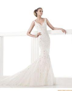 2015 Meerjungfrau Schicke Tolle Brautkleider aus Organza mit Applikation