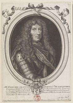 Edouard-François Colbert, 1er. Comte de Maulévrier (1633 - 1696). Fils de Nicolas Colbert de Vandières et de Marie Pussort, frère du ministre Jean-Baptiste Colbert, il embrassa la carrière des armes et devint Lieutenant-Général des Armées du Roi et Gouverneur de Tournai, Chevalier des Ordres, il épousa Marie-Madeleine de Bautru, fille du Comte de Serrant. / Gravure d'après Larmessin.