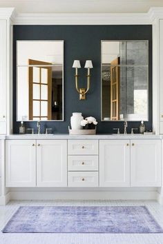 French Deco Horn Double Sconce – Linen / Polished Nickel A dark wall defines the white vanity n this bathroom Bathroom Interior Design, Decor Interior Design, Interior Decorating, Decorating Ideas, Decor Ideas, Decorating Websites, Interior Modern, Interior Ideas, Simple Interior
