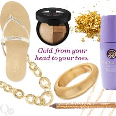 Gold from your head to your toes. Shop gold everything: accessories, shoes, makeup and more. #QIn Magazine