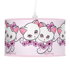 Two cute Kittens with Daisies Pink Hanging Pendant Lamp