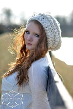 2e617d411f8 Ivory   Cream Slouchy Beanie Winter Hat for Women and Teens Crochet Slouchy  Hat