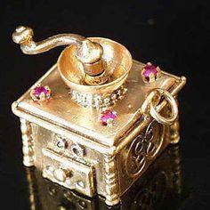 14k Gold Vintage Jeweled Coffee Grinder Charm Moves   eBay..
