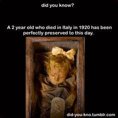 Rosalia Lombardo, who died over 90 years ago from pneumonia, still  just looks like she's sleeping. As it turns out, Ms Lombardo was  preserved with a combination of  formalin, zinc salts, alcohol,  salicylic acid, and glycerin. Formalin,  to kill bacteria, salicylic  acid to kill fungi, alcohol to dry the body  out and mummify it, and  glycerin to keep her from getting too dry.  Source