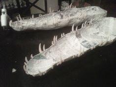 creating paper mache alligator for jungle cruise cove swamp area