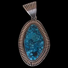 Native American.  Navajo Waterweb Kingman Turquoise Pendant - Albert Jake