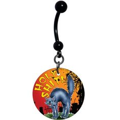 Halloween Scary Cat Belly Ring