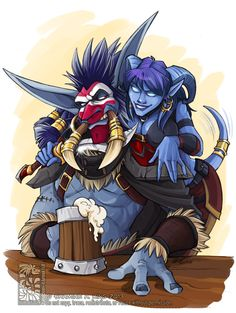 Christmas pic for @snow-bell of her Draenei pirate and my roguish troll as thanks for her showing me around WoW. He has long since had a makeover but what the hell.