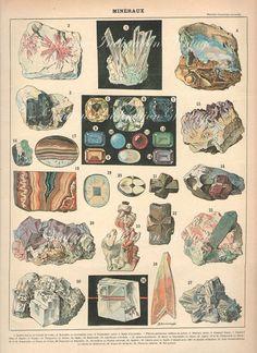 Vintage Print 1900 Antique GEMSTONES CHART French, vintage 30 minerals precious gem stones illustrations
