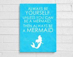 Always be a Mermaid - Ocean Blue DIY chalkboard art - digital inspirational art - nautical - princess party decor - Love - fairytale