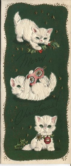 vintage christmas card white kittens playing with ornaments