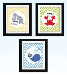 Children's Bathroom Art Prints. Kids di SweetNSnappyDesigns, $58.50