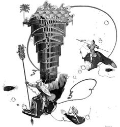 Atlantis Underwater Fantasy Giclee Art Print Unique by BOBOnyc