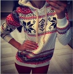 New Womens Cute Cartoon Snow Flake Ski Printed Sweater Pullover Hoodies Jacket