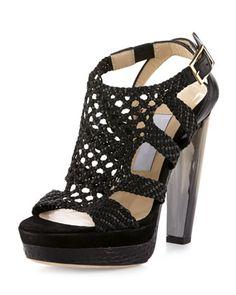 Taytum Woven Platform Sandal, Black by Jimmy Choo at Bergdorf Goodman.