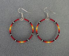 "Red Sunburst Beaded Silver Hoop Earrings ~ Native American Made 1.5"" ~ Free Ship"