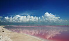 Las Coloradas Yucatan Mexico - tiny town famous for its salt production.