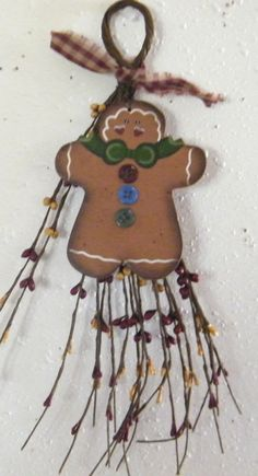 Primitive Berry Swag Wood GINGERBREAD sign  Decor by carolalden, $8.95