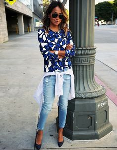 #Streetstyle beautiful floral #blue print