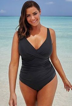 Try out the Black Ruched V-Neck One Piece Swimsuit and more at Swimsuits for All! From stylish tankinis to classic bikinis, we've got what you're looking for. Plus Size Bikini Bottoms, Women's Plus Size Swimwear, Plunging One Piece Swimsuit, One Piece Swimwear, Swimwear One Piece Slimming, Swimsuits For All, Women Swimsuits, Photos Bff, Plus Size One Piece