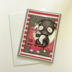 Handmade Valentines, Anniversary or a just because card with You blow me away sentiment, this card features a marker coloured panda bear,