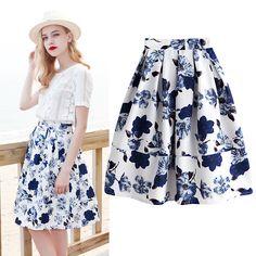 Tidetell.com bottom, dark floral printing skirt