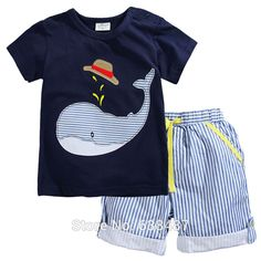 Summer Baby Boys Girls Set Cotton T-shirt And Shorts With Animal Print - Kindermode Baby Boy Clothing Sets, Kids Clothes Boys, Children Clothing, Children Suit, Children Outfits, Children Style, Boys Style, Baby Set, Baby Outfits