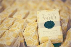 I love how each box is wrapped with a nice big 'thank you!' right on the front. Very cute and modern!!