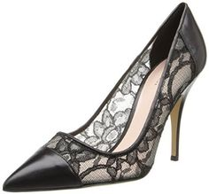 """Color: Black Leather and Textile Imported Manmade sole Heel measures approximately 3.75"""" Luxurious lace pump with solid cap-toe and counter overlay Pointed-toe silhouette Covered heel"""