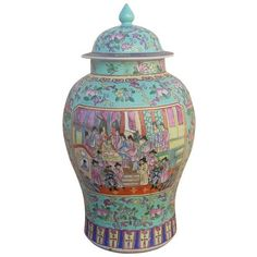 Chinoiserie Ceramic Ginger Jar ($195) ❤ liked on Polyvore featuring home, home decor, ginger jars, ceramic home decor, turquoise home decor, ceramic figurines, turquoise home accessories and ceramic ginger jar