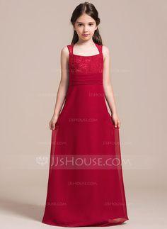 A-Line/Princess Scoop Neck Floor-Length Ruffle Zipper Up Regular Straps Sleeveless No Burgundy General Chiffon Lace Junior Bridesmaid Dress