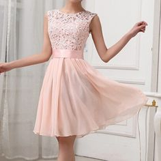 Light Pink Patchwork Hollow-out Lace Sexy Mini Dress. These would be really cute bridesmaid dresses! Club Dresses, Casual Dresses, Short Dresses, Fashion Dresses, Dress Outfits, Sexy Dresses, Bridesmaid Mini Dresses, Homecoming Dresses, Prom Gowns