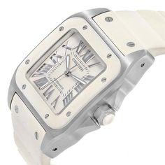 15054 Cartier Santos 100 Stainless Steel White Rubber Ladies Watch W20121U2 SwissWatchExpo