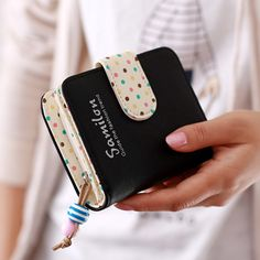 Cheap wallet purse card holder, Buy Quality purse card holder directly from China purse card Suppliers: Fashion Candy Colors Women Wallets Short Polka Dots Leather Zipper Small Wallet  Purse Cards Holder For Girls Women Laddies