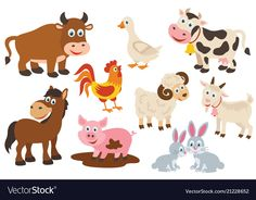 Set of isolated farm animals Royalty Free Vector Image, – Nutztiere Photo - Baby Animals Cute Doodles Drawings, Easy Animal Drawings, Easy Drawings For Kids, Free Vector Images, Vector Free, Barnyard Animals, Toddler Learning Activities, Animal Silhouette, Farm Yard