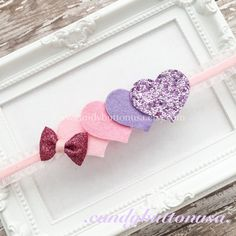 Pink Valentines Hairbow Hearts Baby Headband by candybuttonusa