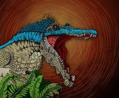 Jurassic World: Baryonyx - Dinosaur Poster Print Dinosaur Drawing, Dinosaur Art, Dinosaur Posters, Dinosaur Illustration, Jurassic Park World, Prehistoric Animals, World Photo, Printing Services, Dinosaurs