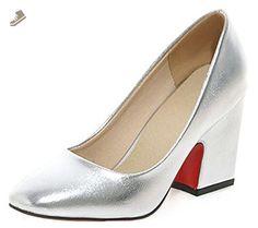IDIFU Women's Dressy Square Toe Wide Width Chunky Heels Slip On Pumps Silver 8.5 B(M) US - Idifu pumps for women (*Amazon Partner-Link)