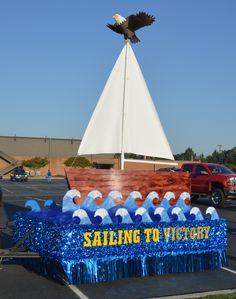 Homecoming Team Parade Float Ideas Football Homecoming, Homecoming Spirit Week, Homecoming Parade, Moana, Parade Float Supplies, Mardi Gras Float, Christmas Parade Floats, Homecoming Floats, Boat Parade