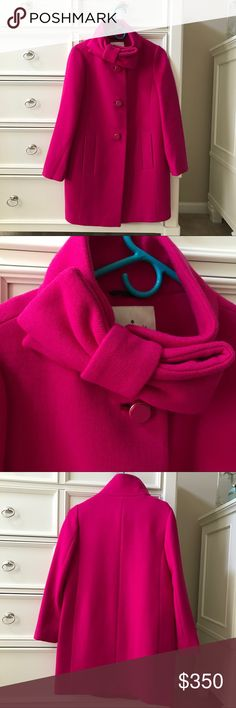 KATE SPADE Bow Neck Pink Wool Pea Coat size 2 Worn only twice! In excellent condition, no flaws! Sad to part with it but it needs a new home! FEEL FREE TO MAKE OFFERS I CANNOT RESIST!!! Thanks for stopping by! 😊🌺💕 kate spade Jackets & Coats Pea Coats